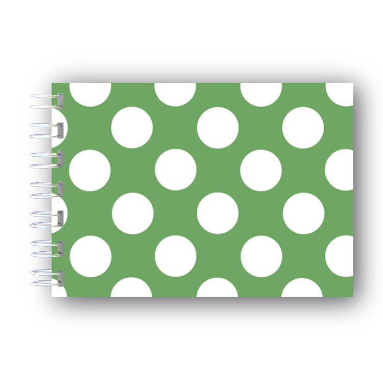 A6 Green and White Polka Dot Wire Bound Notebooks from Dormouse Cards