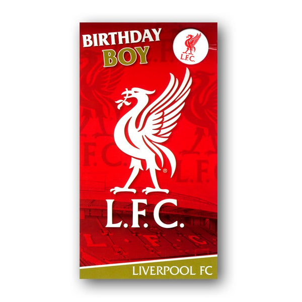 Liverpool FC Birthday Card with Badge Birthday Boy from Dormouse Cards