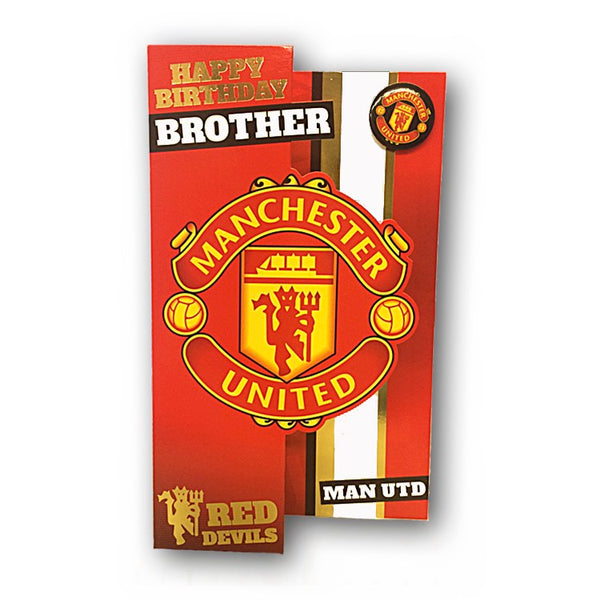 Manchester United Birthday Card with Badge - Brother from Dormouse Cards