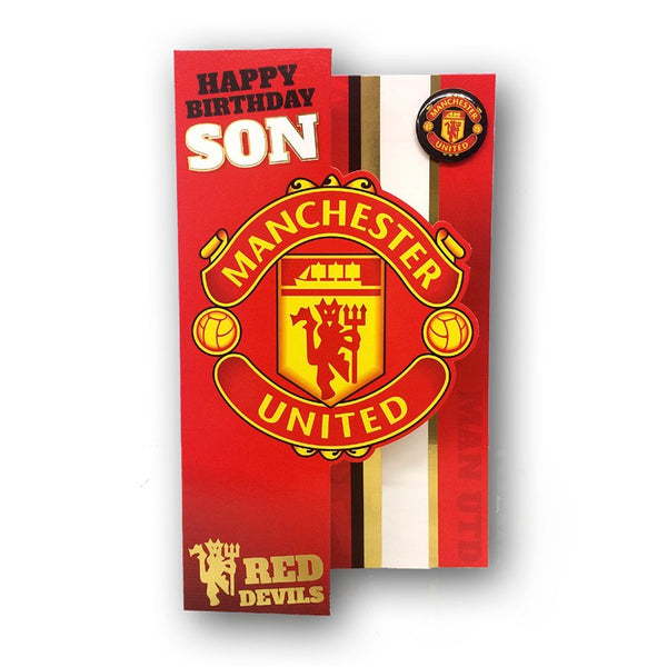 Manchester United Birthday Card with Badge - Son from Dormouse Cards