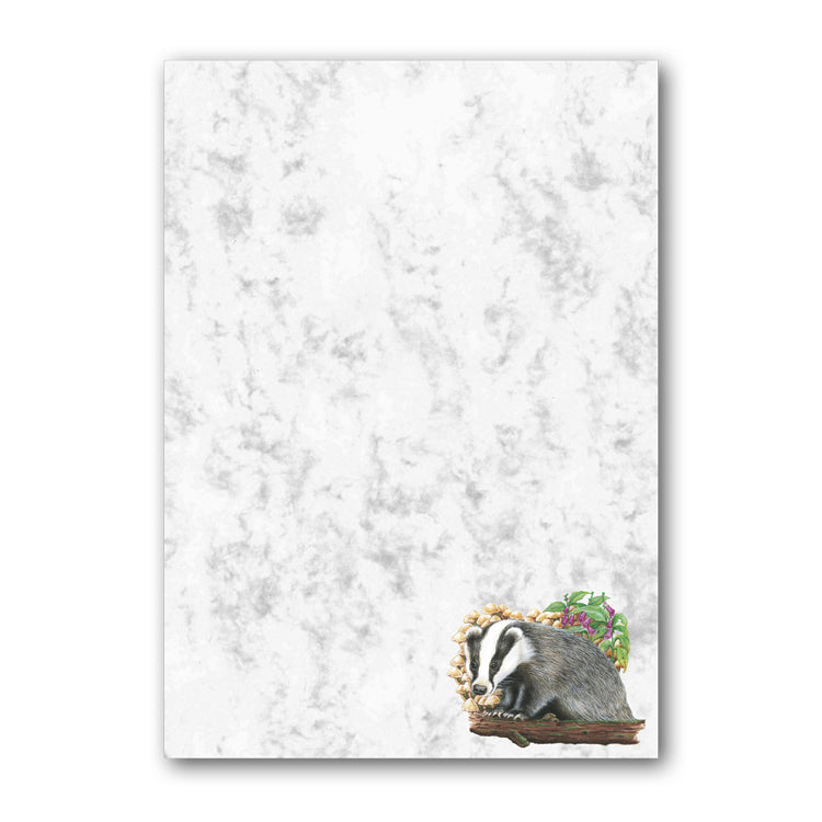 A5 Badger Marble Notepaper from Dormouse Cards