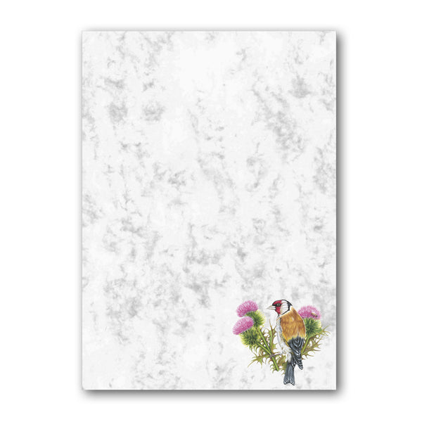 A5 Goldfinch Marble Notepaper from Dormouse Cards