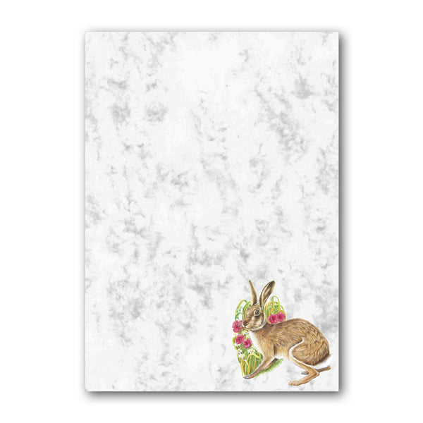 A5 Hare Marble Notepaper from Dormouse Cards