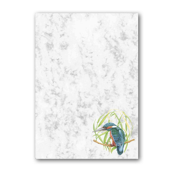 A5 Kingfisher Marble Notepaper from Dormouse Cards