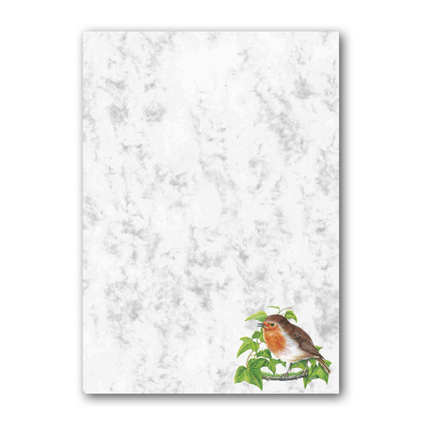 A5 Robin Marble Notepaper from Dormouse Cards