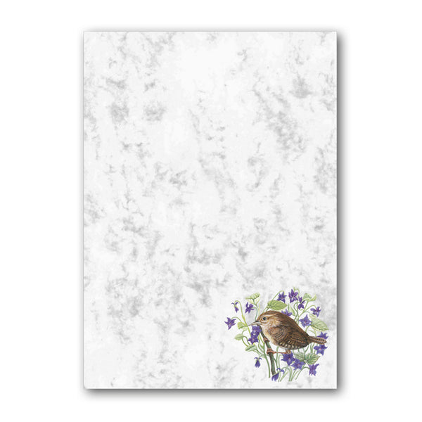 A5 Wren Marble Notepaper from Dormouse Cards