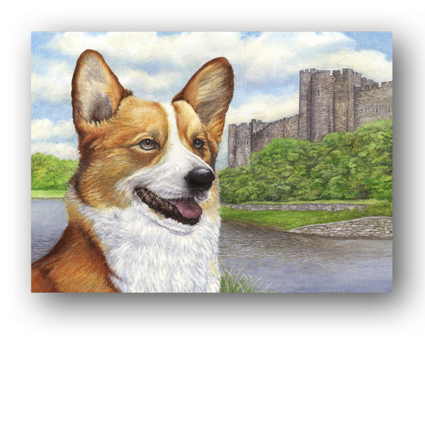 Welsh Corgi Pembroke Castle Greetings Card from Dormouse Cards