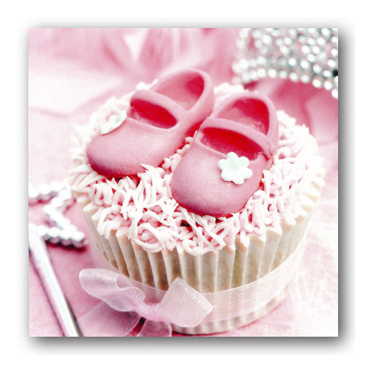 New Baby Christening Pink Booties Cupcake Card Dormouse Cards