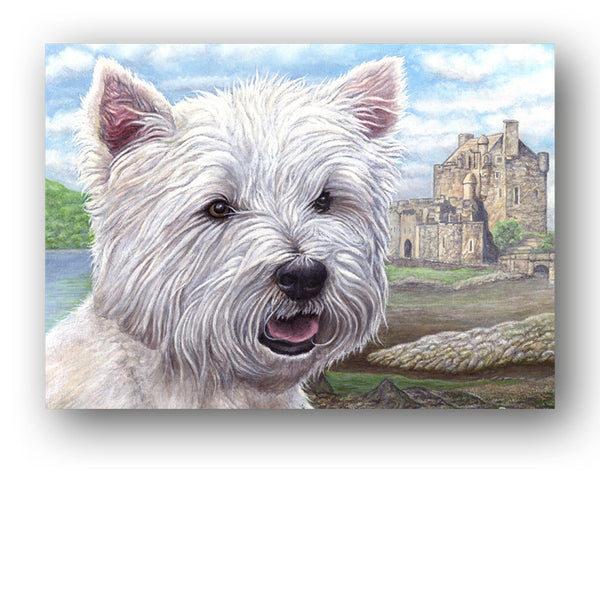 Westie West Highland White Terrier Eileen Donan Castle Scotland Greetings Card from Dormouse Cards