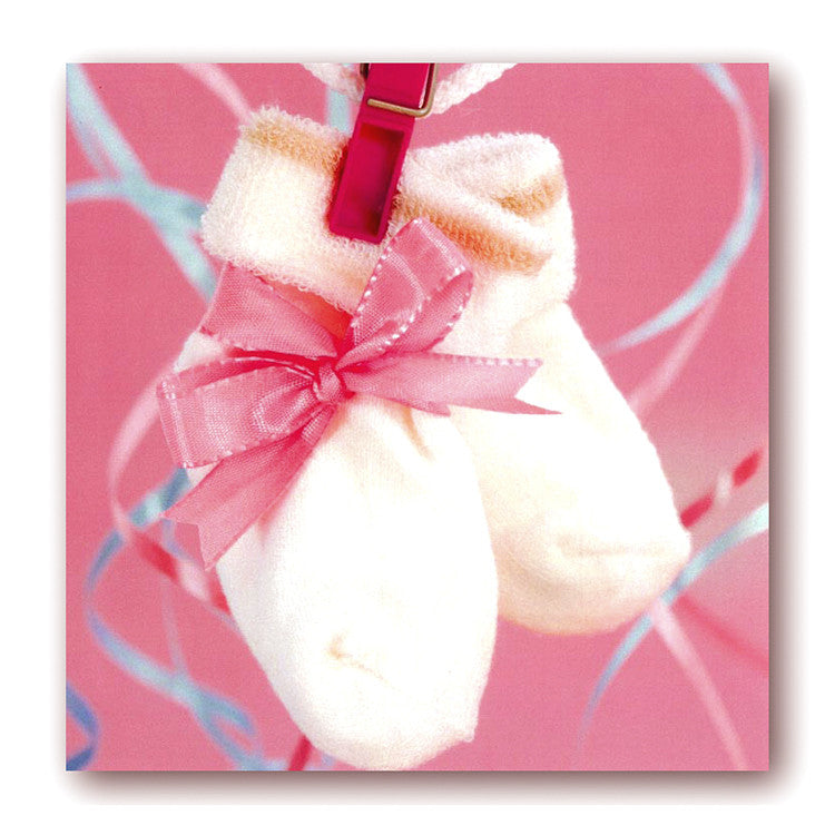 New Baby Christening Baby Socks Cards Dormouse Cards