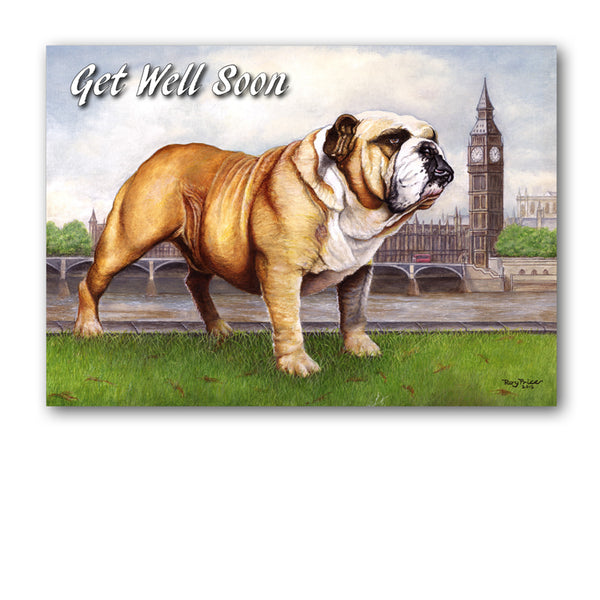 Bulldog Get Well Soon Card from Dormouse Cards