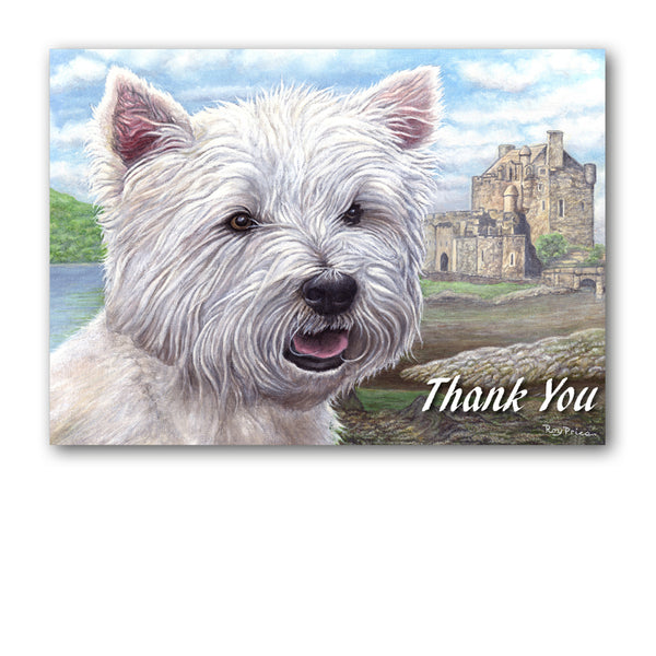 West Highland White Terrier Westie Thank You Card from Dormouse Cards