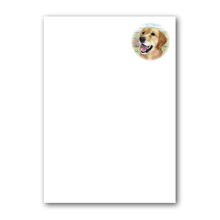 Pack of 6 A5 Golden Retriever Notepaper plain sheets and envelopes from Dormouse Cards