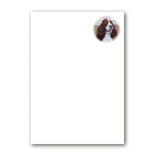 Pack of 6 English Springer Spaniel Notepaper plain sheets and C6 envelopes from Dormouse Cards