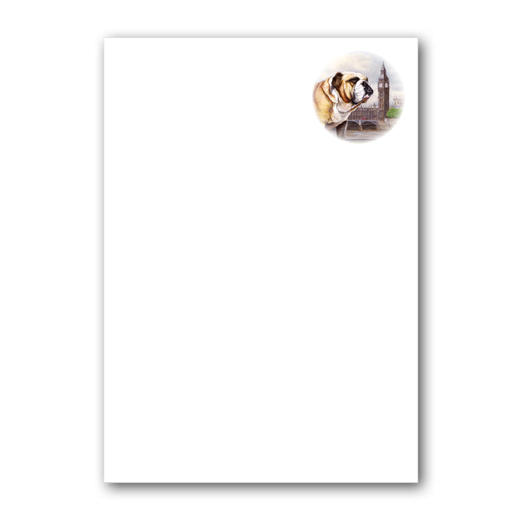 Pack of 6 Bulldog Notepaper plain sheets and C6 envelopes from Dormouse Cards