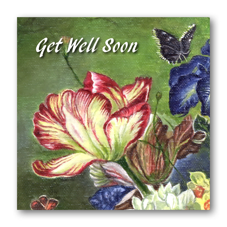 Fine Art Still Life Get Well Soon Card Tulip from Dormouse Cards