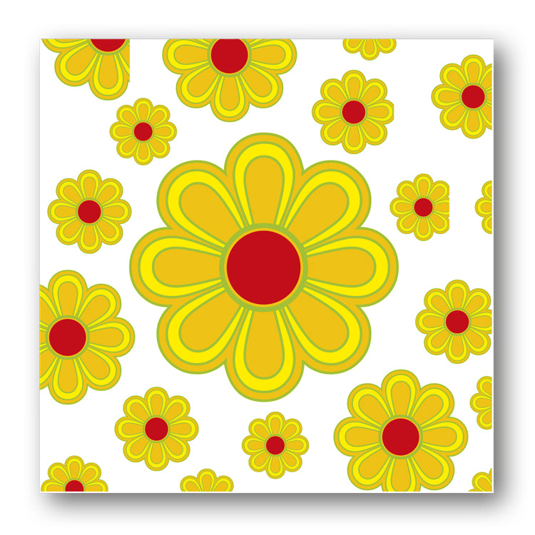 Pack of 5 Notelets 1970's Style Yellow Flowers from Dormouse Cards