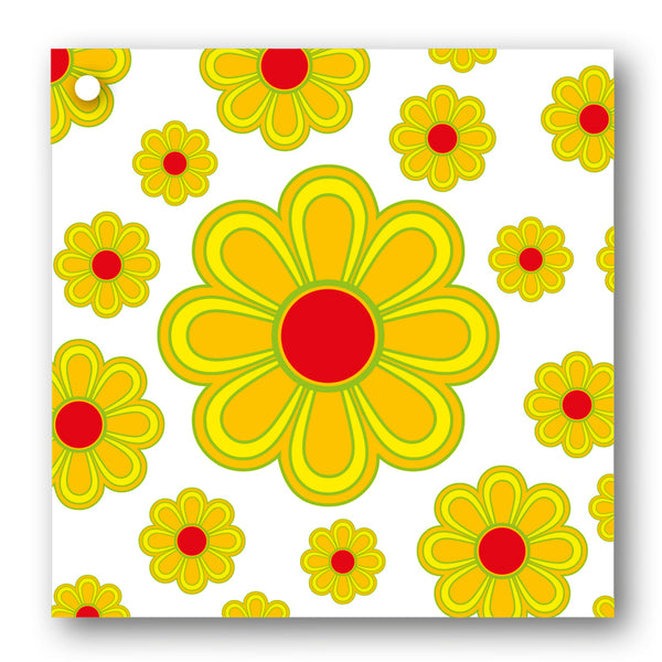 Pack of 10 Gift Tags 1970's Style Yellow Flowers from Dormouse Cards