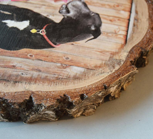 Wood Picture Ornament on Wooden Slice