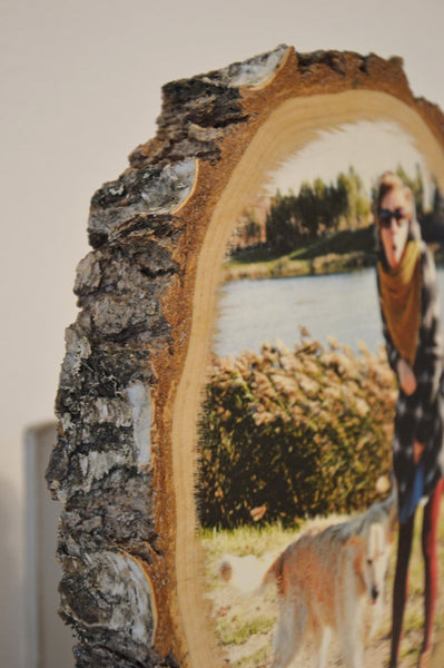 Wooden Photo on Wood Slice