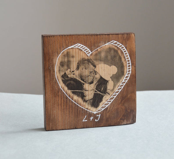 Photo Picture Photo on Wood Photo Heart Gift Photo Gifts