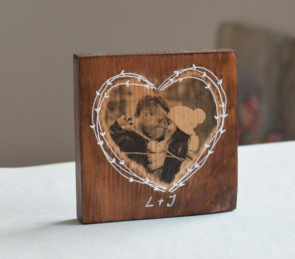 Photo on Wood Photo Heart Gift Photo Gifts Personalized Heart