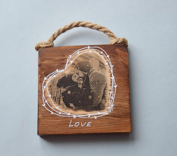 Wooden Photo Wooden Heart Wood Photo Print on Wood