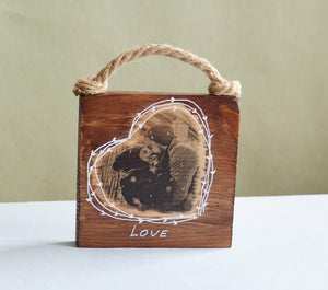 Print on Wood Picture Ornament Wooden Heart on Wood