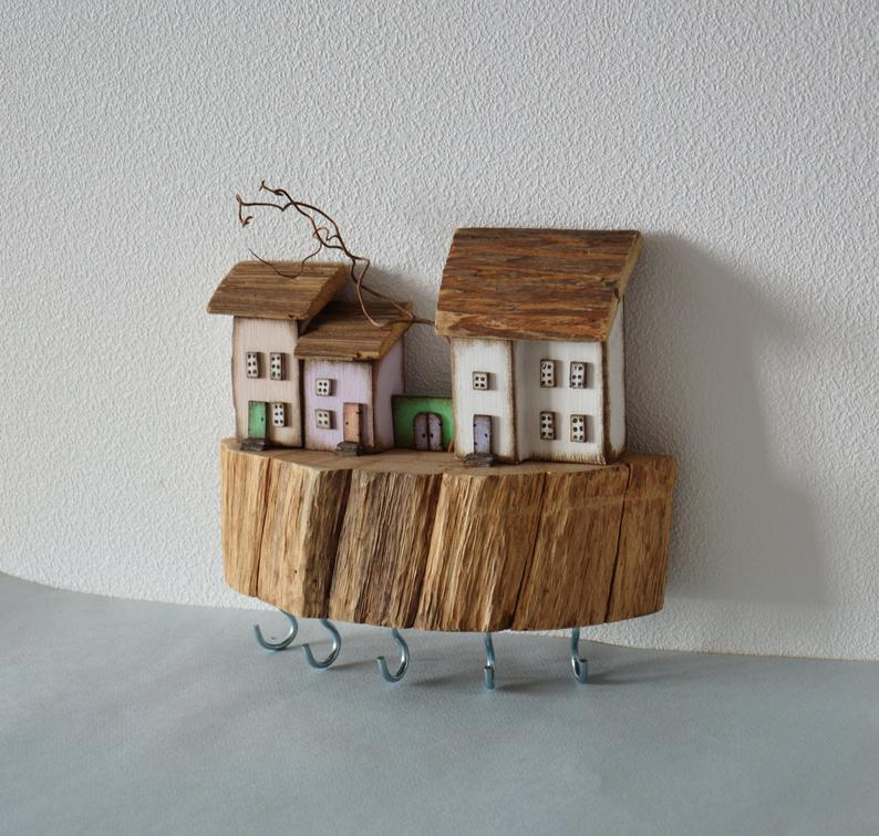 Miniature House Wooden Key Holder Wall Key Hooks Key Hanger