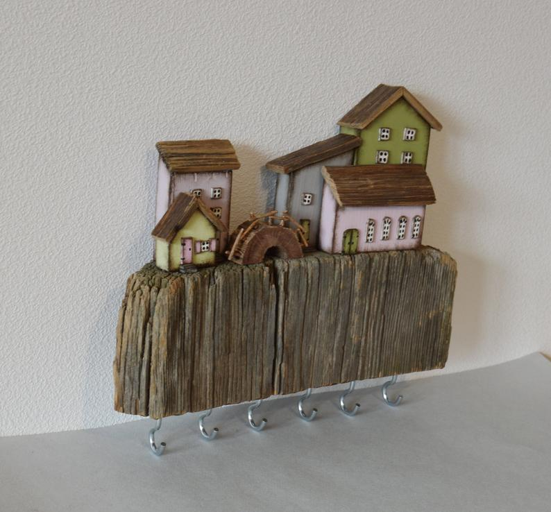 Driftwood Wooden Key Holder Wall Key Hooks Key Hanger