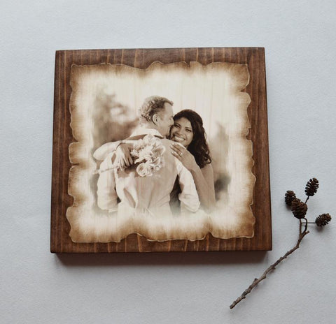 Wood Photo Transfer on Wood Slice Photo on Wood