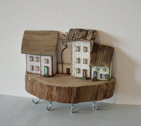Driftwood House Wooden Key Holder Wall Key Hooks