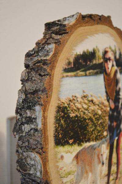 Photo on Wooden Slice, Large 7''- 9""