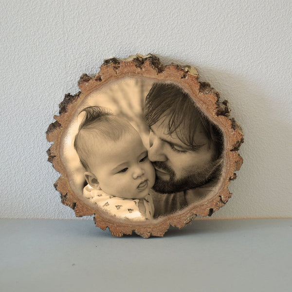 Wood Photo Transfer on Wood Slice Photo on Wood Slice