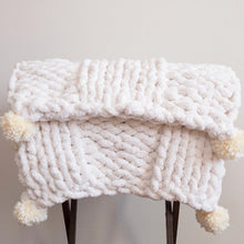 Load image into Gallery viewer, Chenille Giant Knit Chunky Blanket Throw in Double Ribbing Pattern with Pompoms