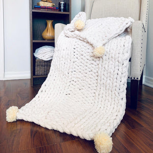 Chenille Giant Knit Chunky Blanket Throw in Double Ribbing Pattern with Pompoms