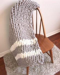 Chenille Handmade Knit Blanket Throw in Light Gray