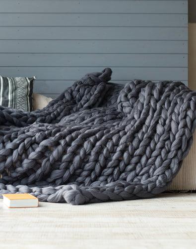 Large Merino Wool Arm Knit Chunky Throw Blanket in Shadow