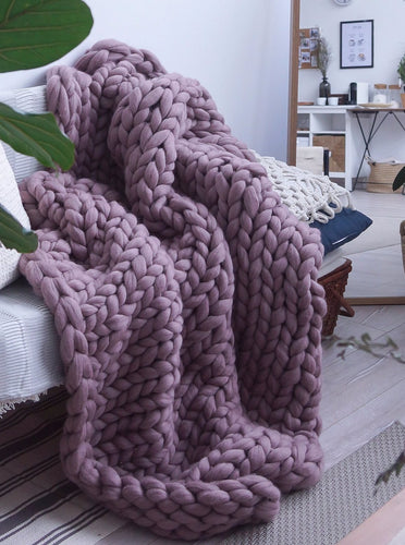 Merino Wool Arm Knit Chunky Large Throw Blanket in Plum