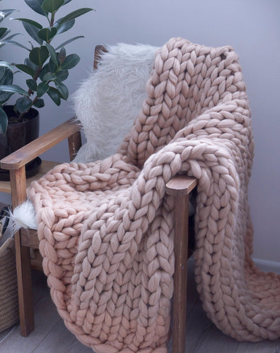 Merino Wool Arm Knit Chunky Throw Blanket in Rose Taupe