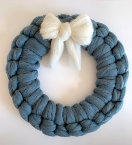 Chunky Knit Wall Hanging Wreath DuckEgg Color Large