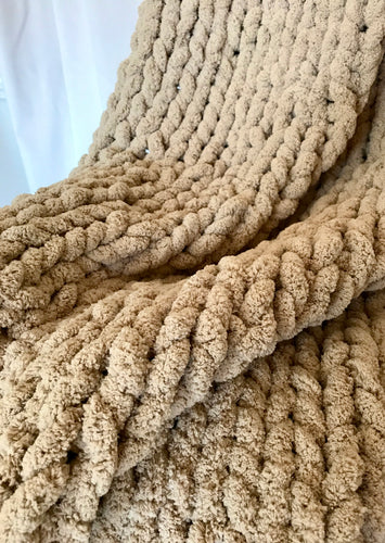 Chenille Handmade Knit Blanket Throw in Taupe