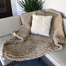 Load image into Gallery viewer, Chenille Handmade Knit Blanket Throw in Taupe