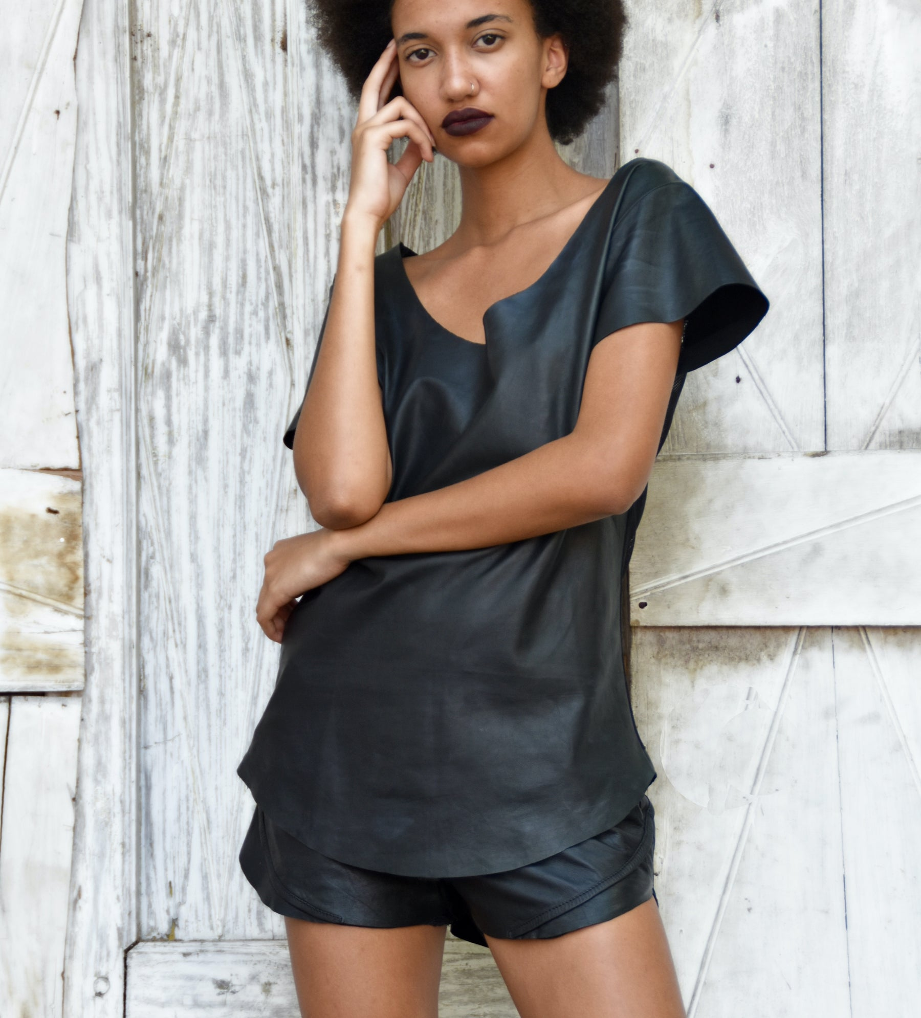 leather t-shirt by Patricia Bos