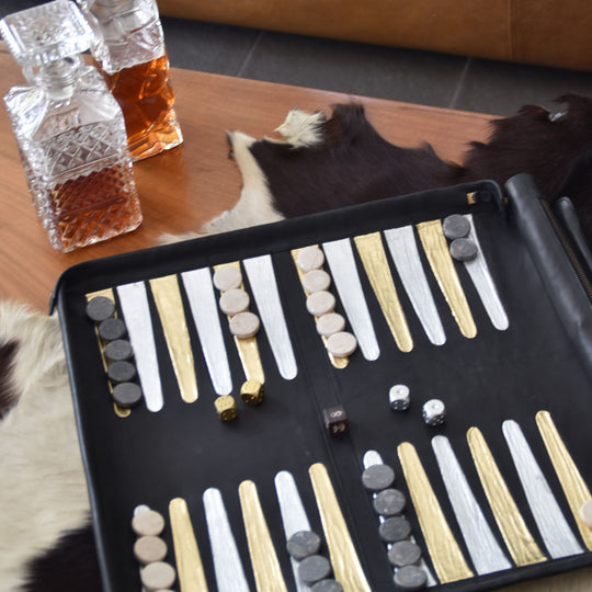 leather handmade backgammon