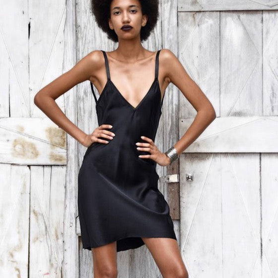 Jenny | Silk Mini Dress Black - Patricia Bos