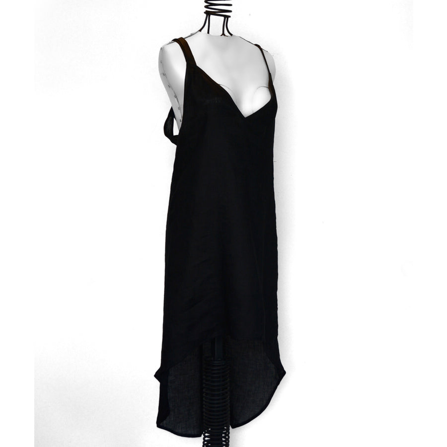 Kenzha | Open Back Linen Midi Dress Black - Patricia Bos