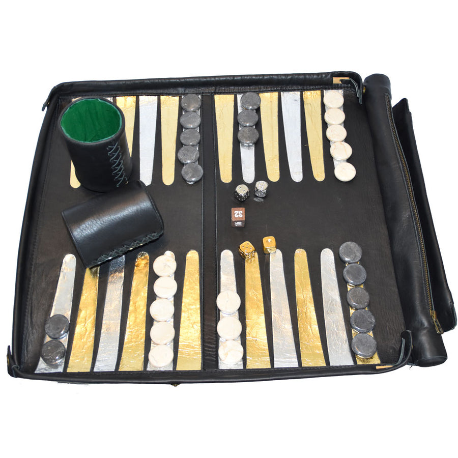 "Leather Backgammon Board | ""Deluxe"" - Patricia Bos"