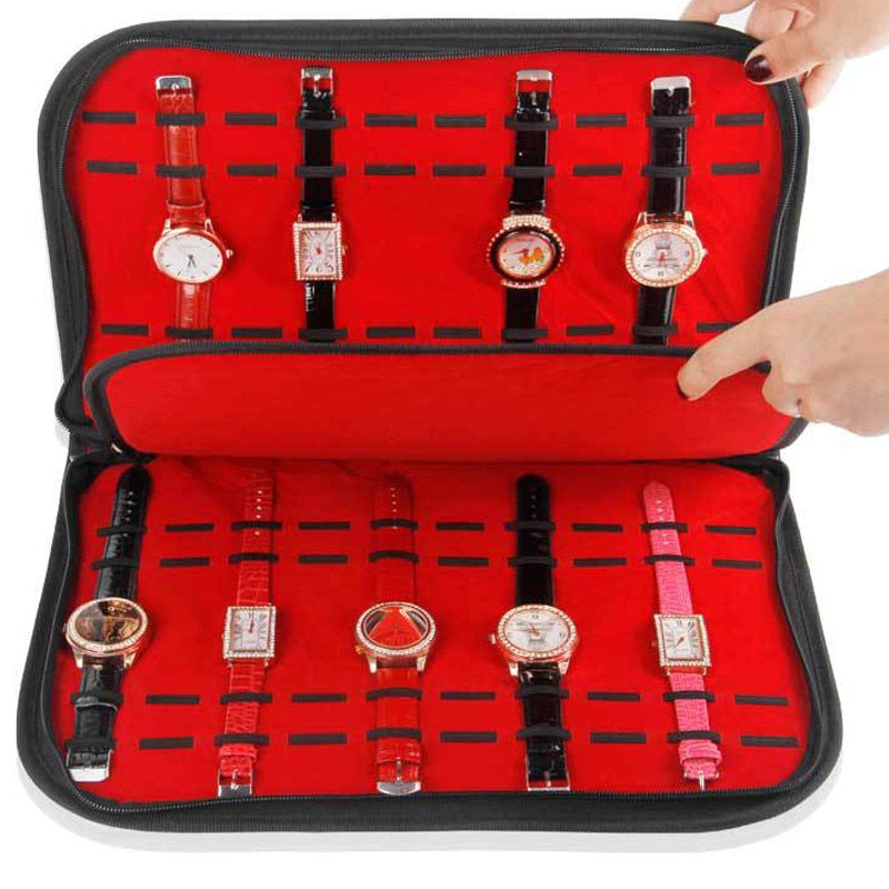 20 Slots/Grids Leather Watch Case With Zipper Velvet  Travel Jewelry Packing Shelf Organize
