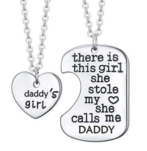 Daddy and daughter Heart Pendant set